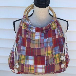 J. Crew plaid shoulder bag with wooden handles
